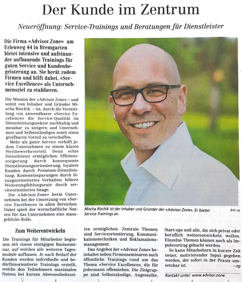 Artikel Bremgarter Bezirksanzeiger über die Advisor.Zone-Service Excellence